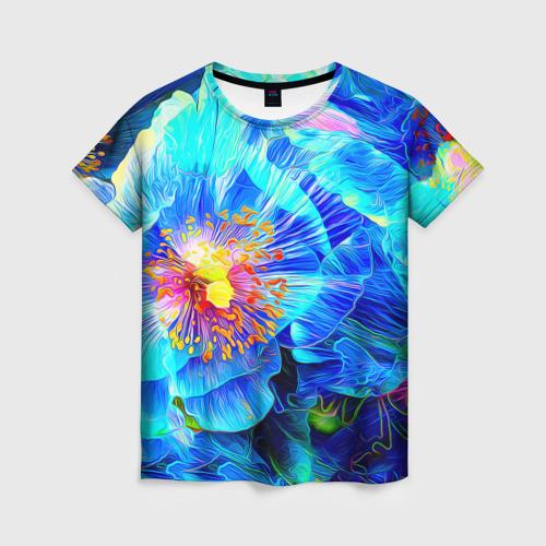 Женская футболка 3D Голубой цветок Фото 01
