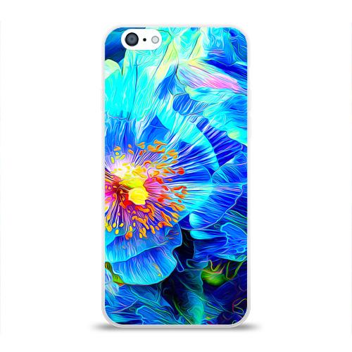 Чехол для Apple iPhone 6 силиконовый глянцевый Голубой цветок Фото 01
