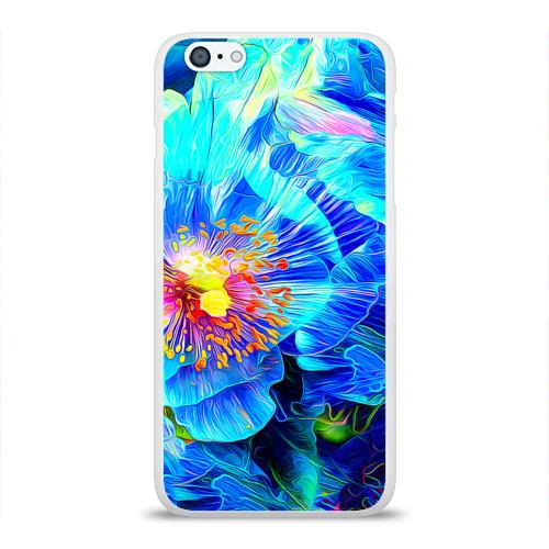 Чехол для Apple iPhone 6Plus/6SPlus силиконовый глянцевый Голубой цветок Фото 01