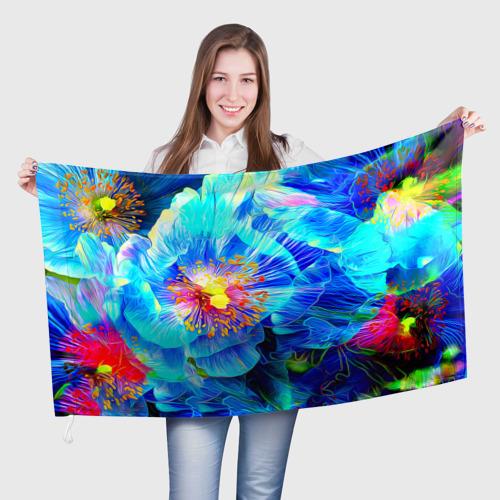 Флаг 3D Голубой цветок Фото 01