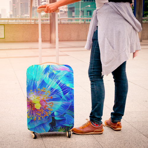 Чехол для чемодана 3D Голубой цветок Фото 01
