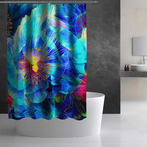 Штора 3D для ванной Голубой цветок Фото 01