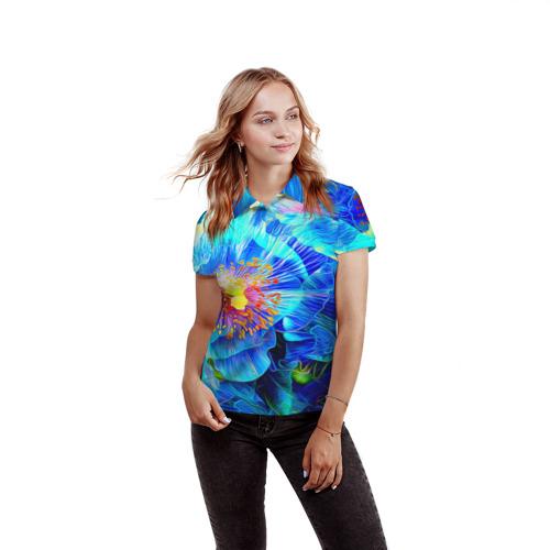 Женская рубашка поло 3D Голубой цветок Фото 01