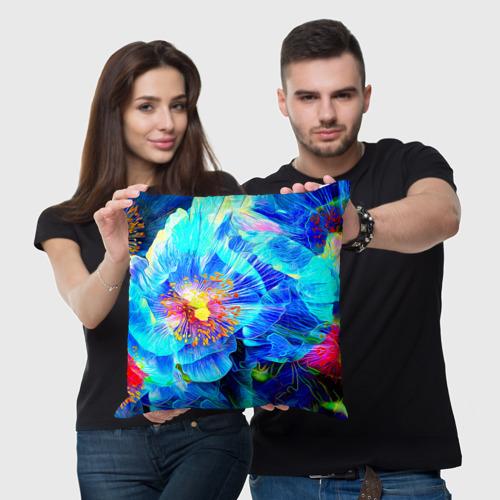 Подушка 3D Голубой цветок Фото 01