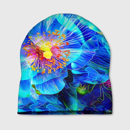Шапка 3D Голубой цветок Фото 01