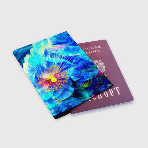 Обложка для паспорта матовая кожа Голубой цветок Фото 01