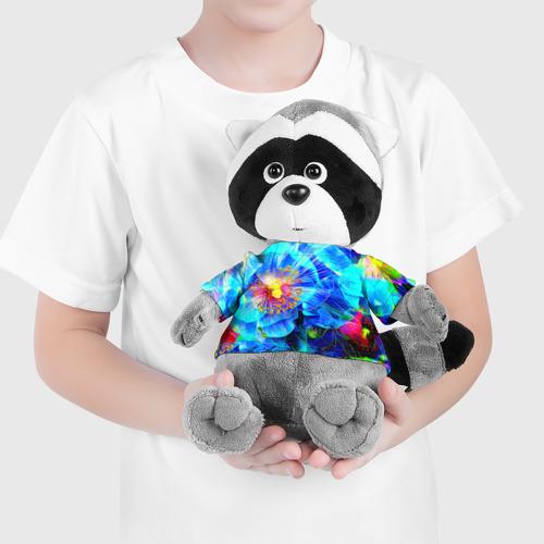 Енотик в футболке 3D Голубой цветок Фото 01