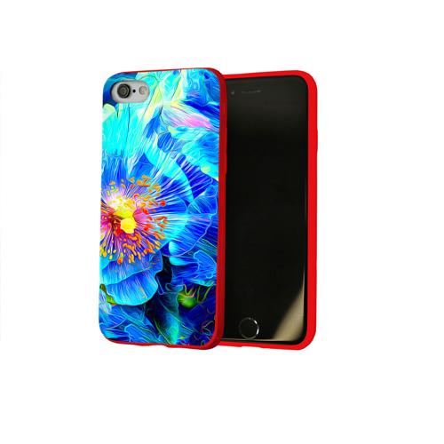 Чехол для Apple iPhone 8 силиконовый глянцевый Голубой цветок Фото 01