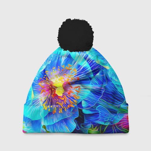 Шапка 3D c помпоном Голубой цветок Фото 01