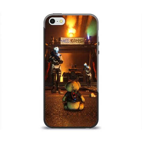 Чехол силиконовый глянцевый для Телефон Apple iPhone 5/5S Bear
