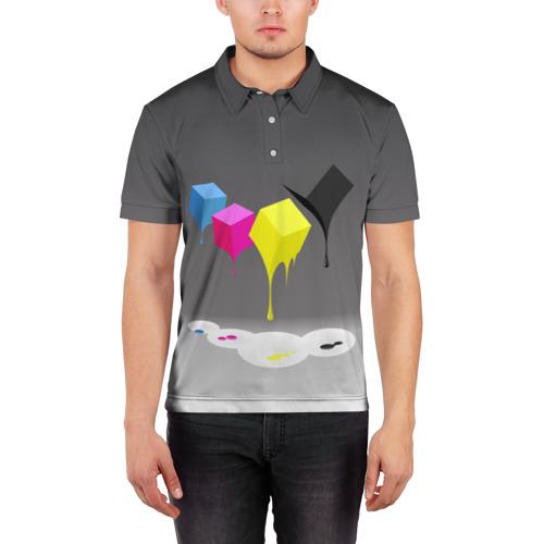Мужская рубашка поло 3D  Фото 03, Краски-кубики