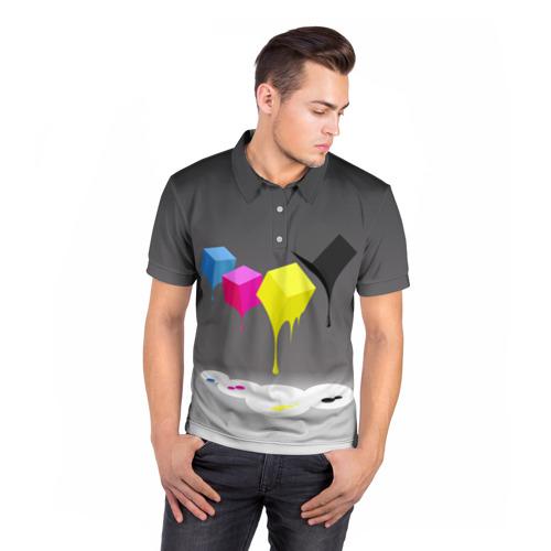 Мужская рубашка поло 3D  Фото 05, Краски-кубики