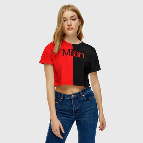 Женская футболка 3D укороченная  Фото 04, ФК Милан