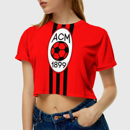Женская футболка 3D укороченная  Фото 01, Милан ФК