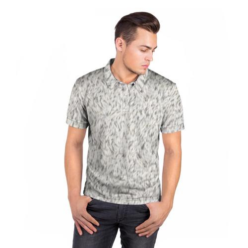 Мужская рубашка поло 3D  Фото 05, Белый мех