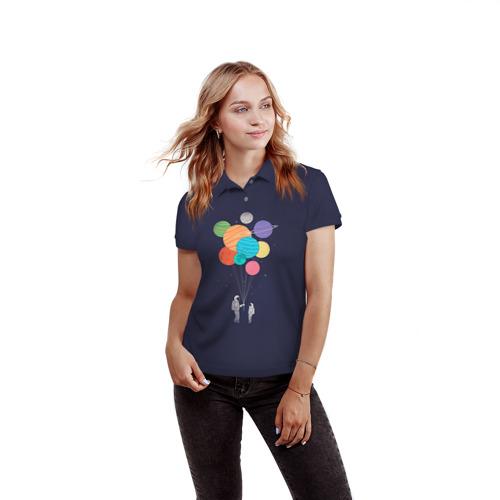Женская рубашка поло 3D  Фото 03, Космонавт 3