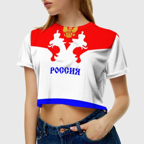 Женская футболка 3D укороченная  Фото 01, Сборная России по хоккею