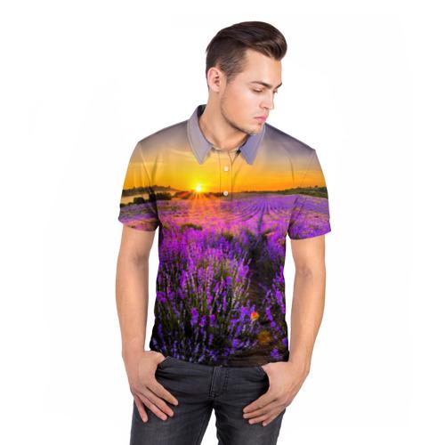 Мужская рубашка поло 3D  Фото 05, Лавандовое поле