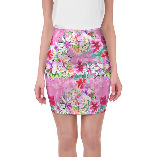 Мини-юбка 3D Цветы розовые от Всемайки