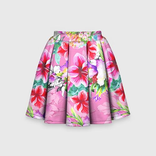 Детская юбка-солнце 3D Цветы розовые