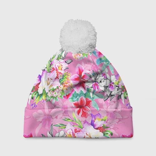 Шапка 3D c помпоном  Фото 01, Цветы розовые