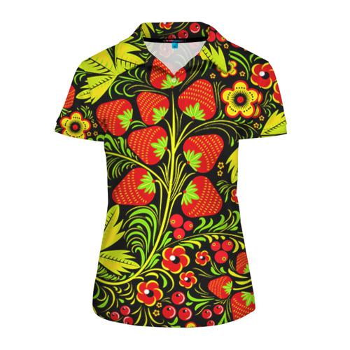Женская рубашка поло 3D Роспись Хохлома 1