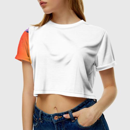 Женская футболка 3D укороченная  Фото 01, Red Sky