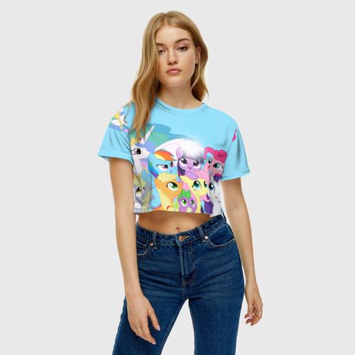 Женская футболка 3D укороченная  Фото 04, Blue
