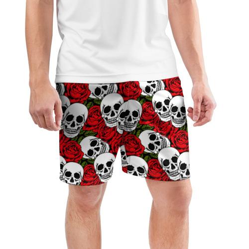 Мужские шорты 3D спортивные  Фото 03, Черепа в розах