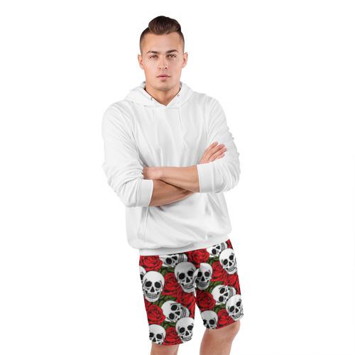 Мужские шорты 3D спортивные  Фото 05, Черепа в розах