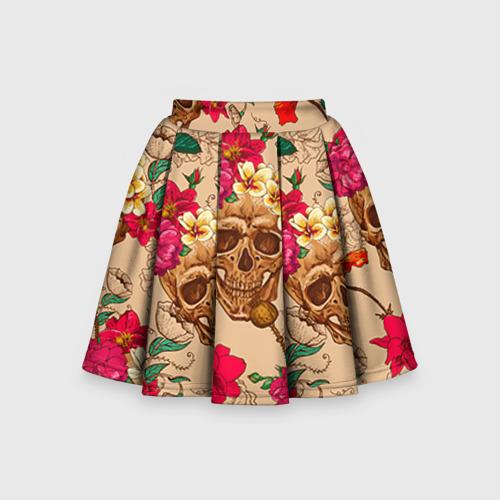 Детская юбка-солнце 3D Черепа в цветах