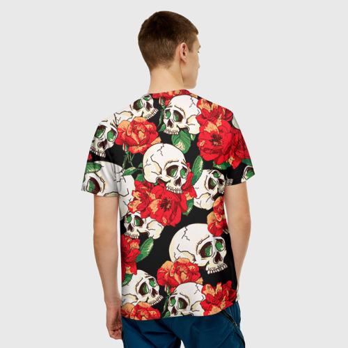 Мужская футболка 3D Черепки и розы Фото 01