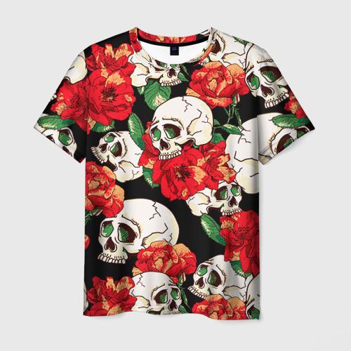 Мужская футболка 3D Черепки и розы