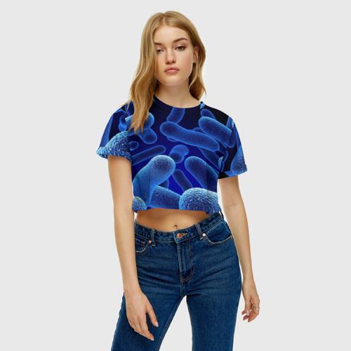 Женская футболка 3D укороченная  Фото 04, Молекула