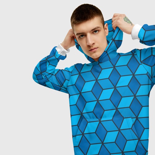 Мужская толстовка 3D  Фото 01, Blue cube