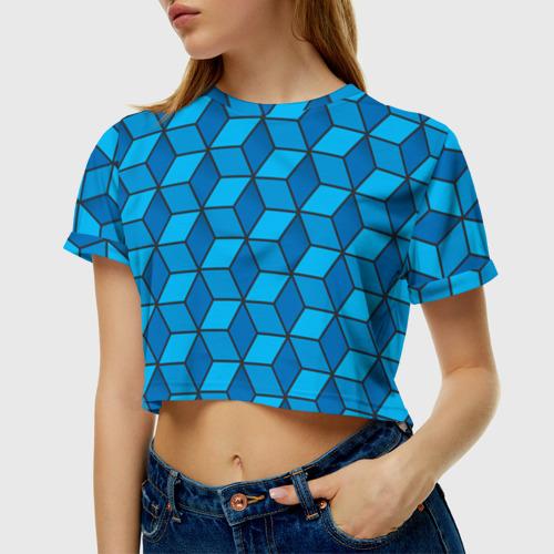 Женская футболка 3D укороченная  Фото 01, Blue cube
