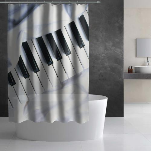 Штора 3D для ванной  Фото 03, Клавиши
