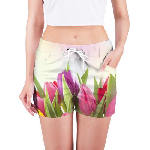 Женские шорты 3D Тюльпаны Фото 01