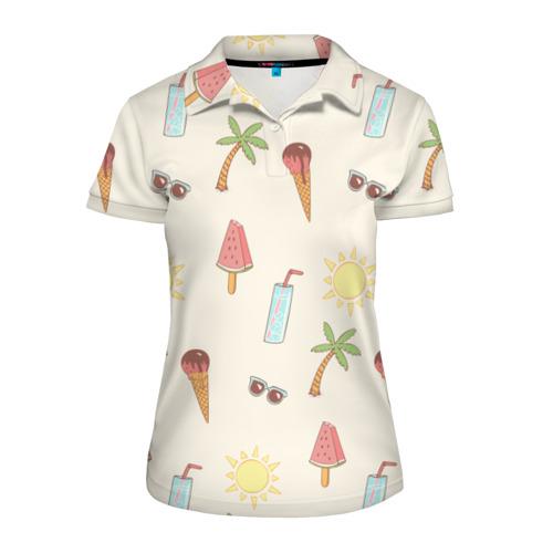 Женская рубашка поло 3D Пляжный Фото 01