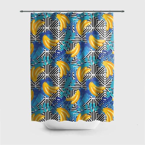 Штора 3D для ванной  Фото 01, Banana pattern