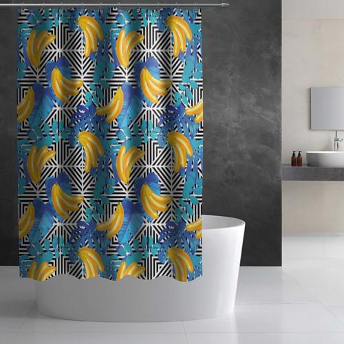 Штора 3D для ванной  Фото 03, Banana pattern