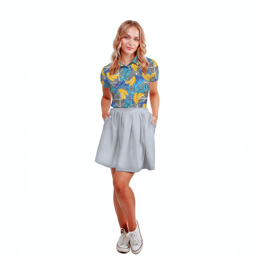Женская рубашка поло 3D  Фото 04, Banana pattern
