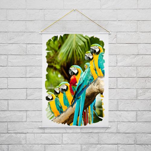 Тканевый плакат  Фото 02, Экзотические попугаи