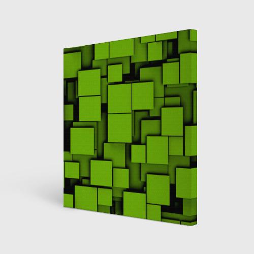 Холст квадратный  Фото 01, Зеленые кубики