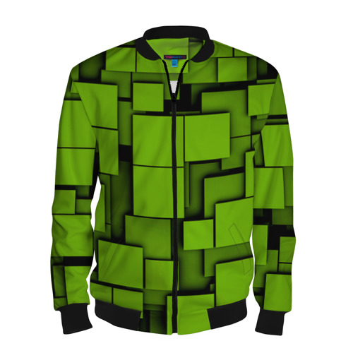 Мужской бомбер 3D Зеленые кубики