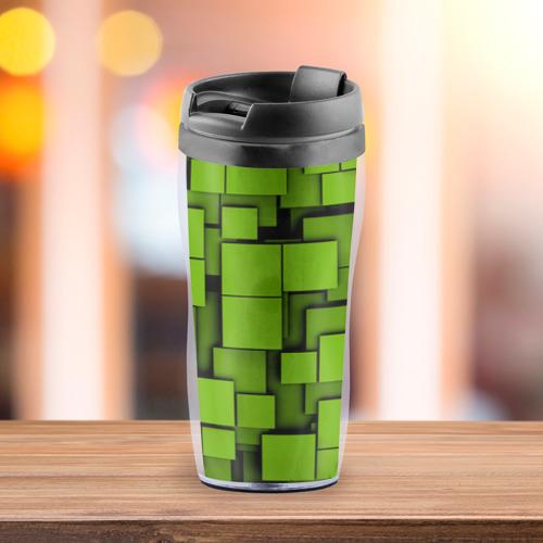 Термокружка-непроливайка  Фото 03, Зеленые кубики