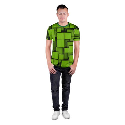 Мужская футболка 3D спортивная  Фото 04, Зеленые кубики