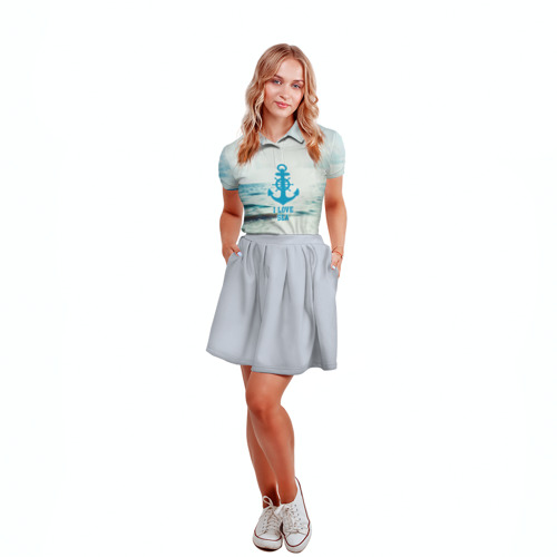 Женская рубашка поло 3D I love sea Фото 01