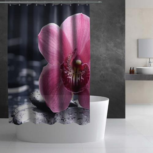 Штора 3D для ванной Цветы Фото 01