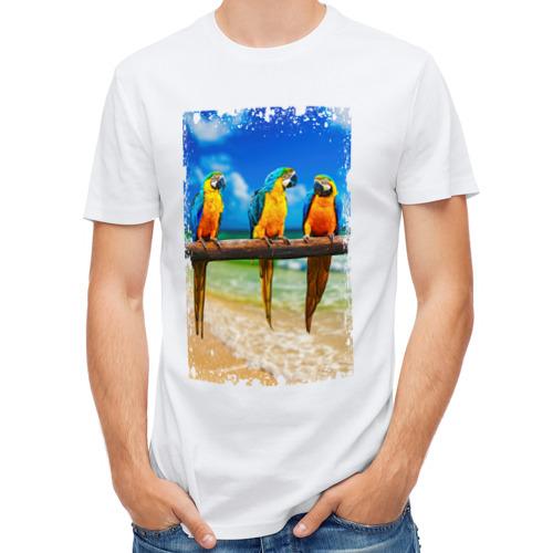 Мужская футболка полусинтетическая  Фото 01, Попугаи (retro style)